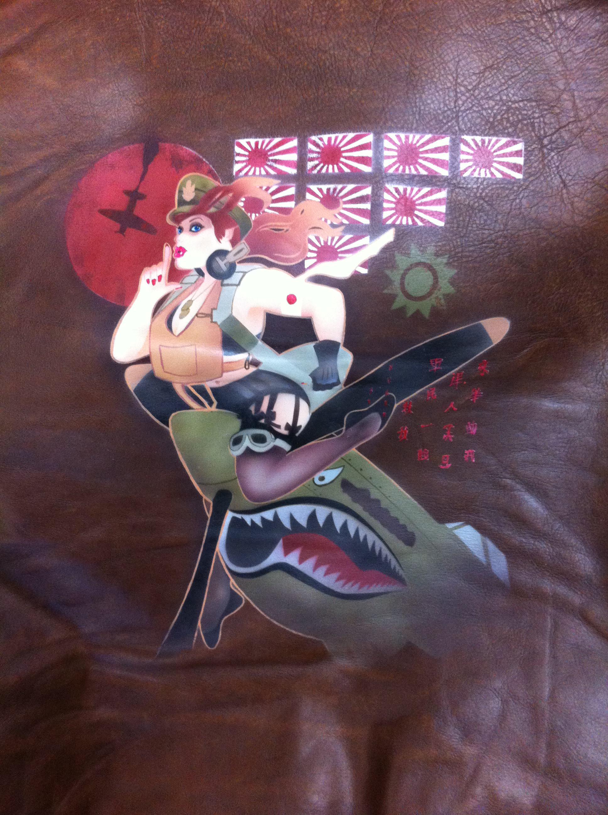 airbrushed leather jacket