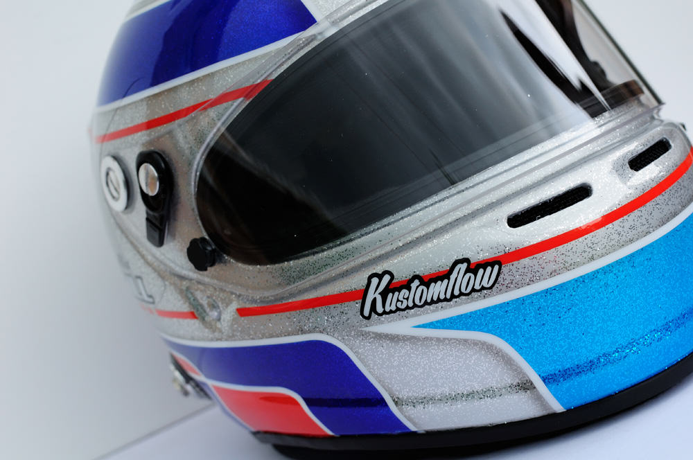 alex gill motorsport custom helmet painted by Kustomflow